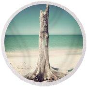 Standing Alone-vintage Round Beach Towel