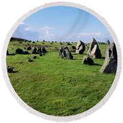 Standing Stones On A Landscape Round Beach Towel