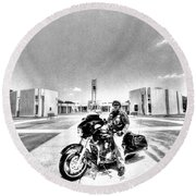 Standing Watch At The Houston National Cemetery Round Beach Towel by David Morefield