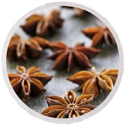 Star Anise Fruit And Seeds Round Beach Towel