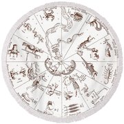 Star Map From Kirchers Oedipus Round Beach Towel by Science Source