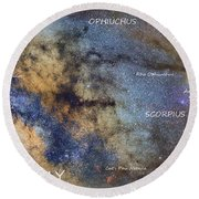 Star Map Version The Milky Way And Constellations Scorpius Sagittarius And The Star Antares Round Beach Towel
