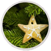 Star Shape Short Bread Cookie Round Beach Towel