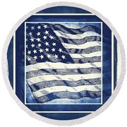 Star Spangled Banner Blue Round Beach Towel