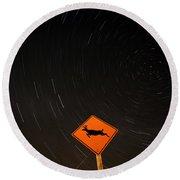 Star Tracks Behind Deer Crossing Sign Round Beach Towel