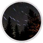 Star Trails Above Spruce Tree Line Round Beach Towel by Darcy Michaelchuk