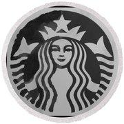 Starbuck The Mermaid In Black And White Round Beach Towel