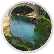 Stari Most Or Old Town Bridge Over The Round Beach Towel