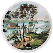 Staten Island And The Narrows, 20th Round Beach Towel
