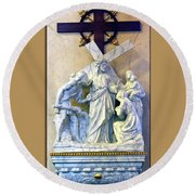 Station Of The Cross 08 Round Beach Towel