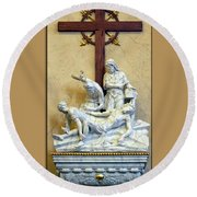 Station Of The Cross 11 Round Beach Towel