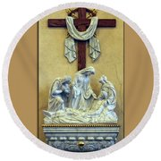 Station Of The Cross 13 Round Beach Towel