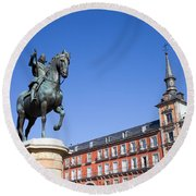 Statue Of King Philip IIi At Plaza Mayor Round Beach Towel