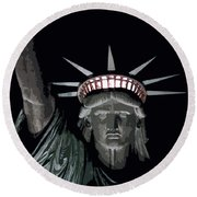 Statue Of Liberty Poster Round Beach Towel