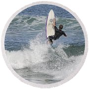 Staying On The Board Round Beach Towel