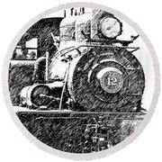 steam Engine pencil sketch Round Beach Towel