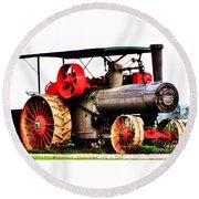 Steam Engine Tractor  Round Beach Towel