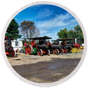 Steam Engines Lined Up Round Beach Towel