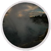 Steam Rising From Hot Springs  Round Beach Towel