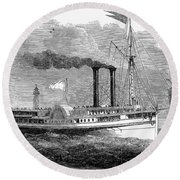 Steamboat, 1850 Round Beach Towel