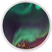 Steamboat Under Northern Lights Round Beach Towel