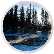 Steaming River In Winter Round Beach Towel