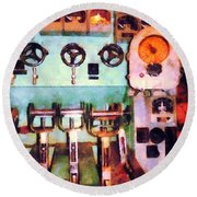 Steampunk - Electrical Control Room Round Beach Towel