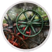 Steampunk - Machine - Transportation Of The Future Round Beach Towel by Mike Savad