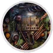 Steampunk - Naval - The Comm Station Round Beach Towel