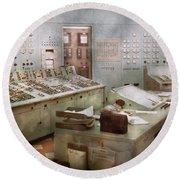 Steampunk - Retro - The Power Station Round Beach Towel