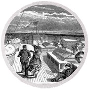 Steamships: Deck, 1870 Round Beach Towel