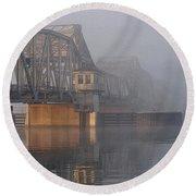 Steel Bridge In Morning Fog Round Beach Towel