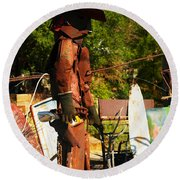 Steel Gunfighter Round Beach Towel