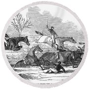 Steeplechase, 1845 Round Beach Towel