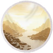 Misted Mountain River Passage Round Beach Towel