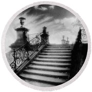 Steps At Chateau Vieux Round Beach Towel by Simon Marsden