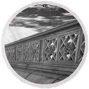 Steps Of Central Park In Black And White Round Beach Towel