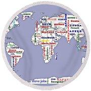Steve Jobs Apple World Map Digital Art Round Beach Towel