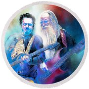 Steve Lukather And Leland Sklar From Toto 02 Round Beach Towel