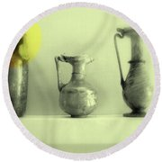 Still Life - Roman Pitchers Round Beach Towel