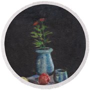 Still Life Flowers And Fruit Round Beach Towel
