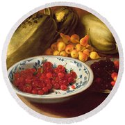 Still Life Of Cherries - Marrows And Pears Round Beach Towel