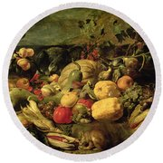 Still Life Of Fruits And Vegetables Round Beach Towel