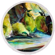 Still Life Of Pears Round Beach Towel by Mindy Newman