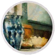 Still Life With Blue Jug Round Beach Towel