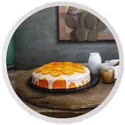 Still Life With Cake And Cactus Round Beach Towel