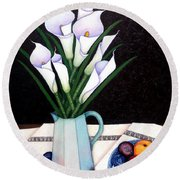 Still Life With Callas Round Beach Towel
