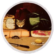 Still Life With Cat And Mouse Round Beach Towel