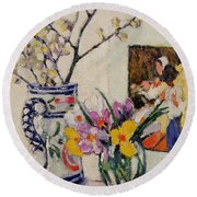 Still Life With Flowers In A Vase   Round Beach Towel