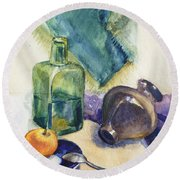 Still Life With Green Bottle Round Beach Towel